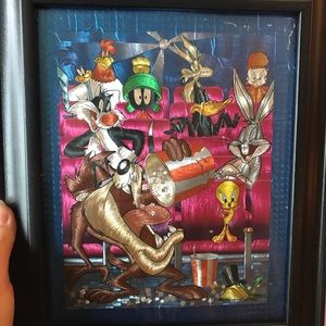 Looney Tunes iridescent photo framed vintage retro